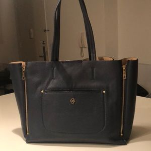 Ann Taylor Signature Tote in Navy Blue